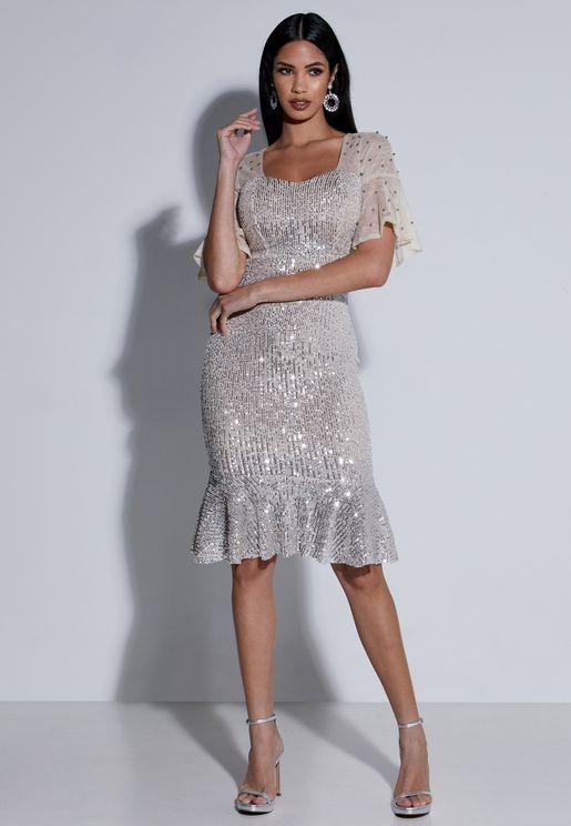 Embellished Sleeve Sequin Midi Dress