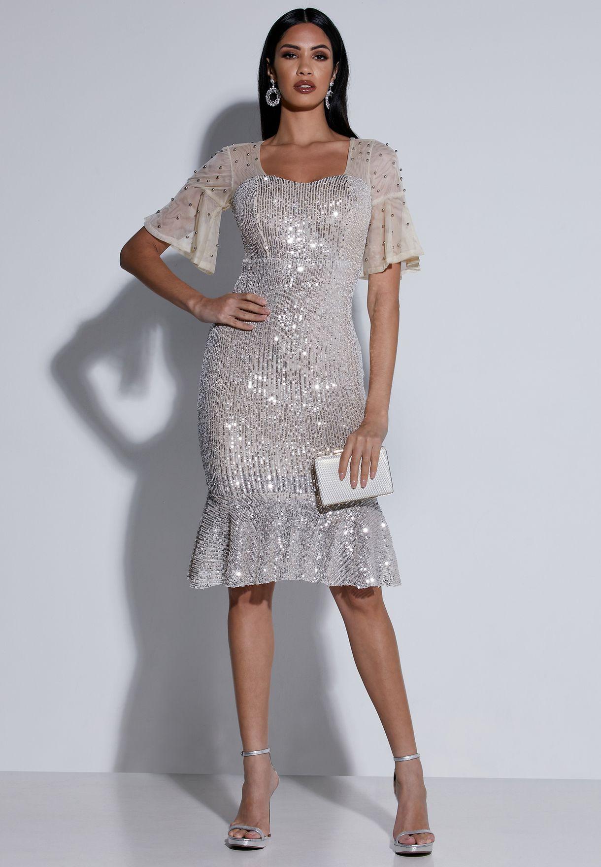 Sheer Sleeve Sequin Midi Dress