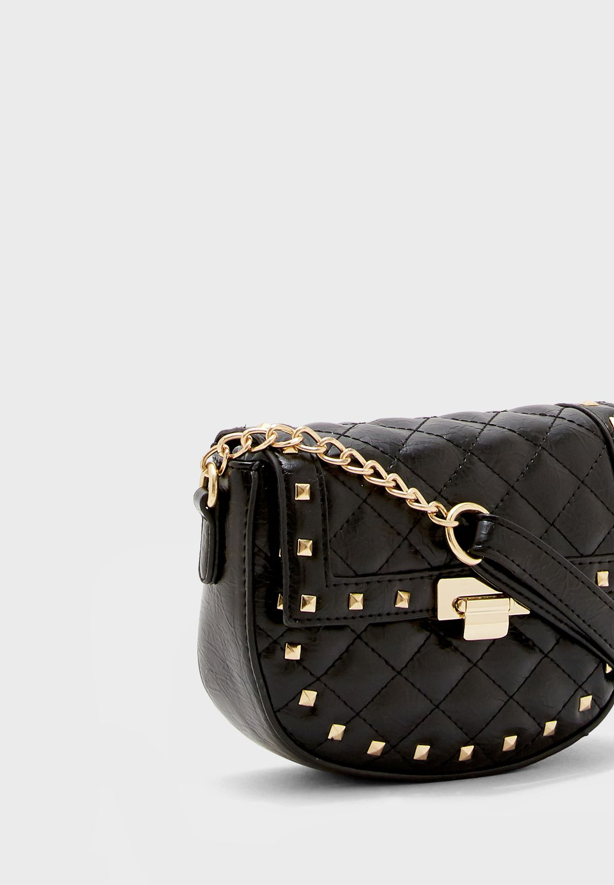 Elma Stud Quilted Saddle Crossbody