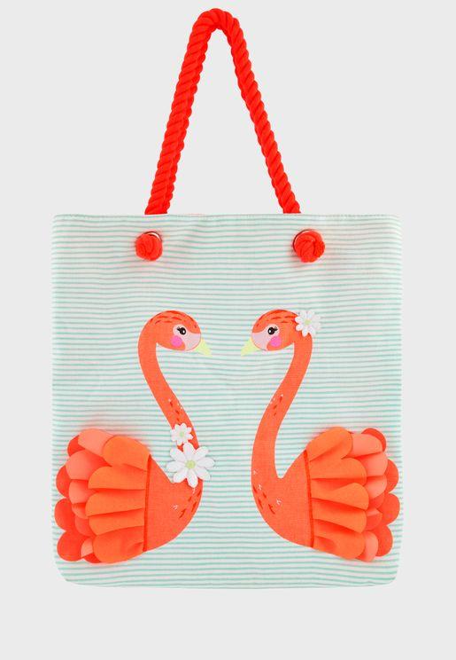 Kids Flamingo Stripped Shopper