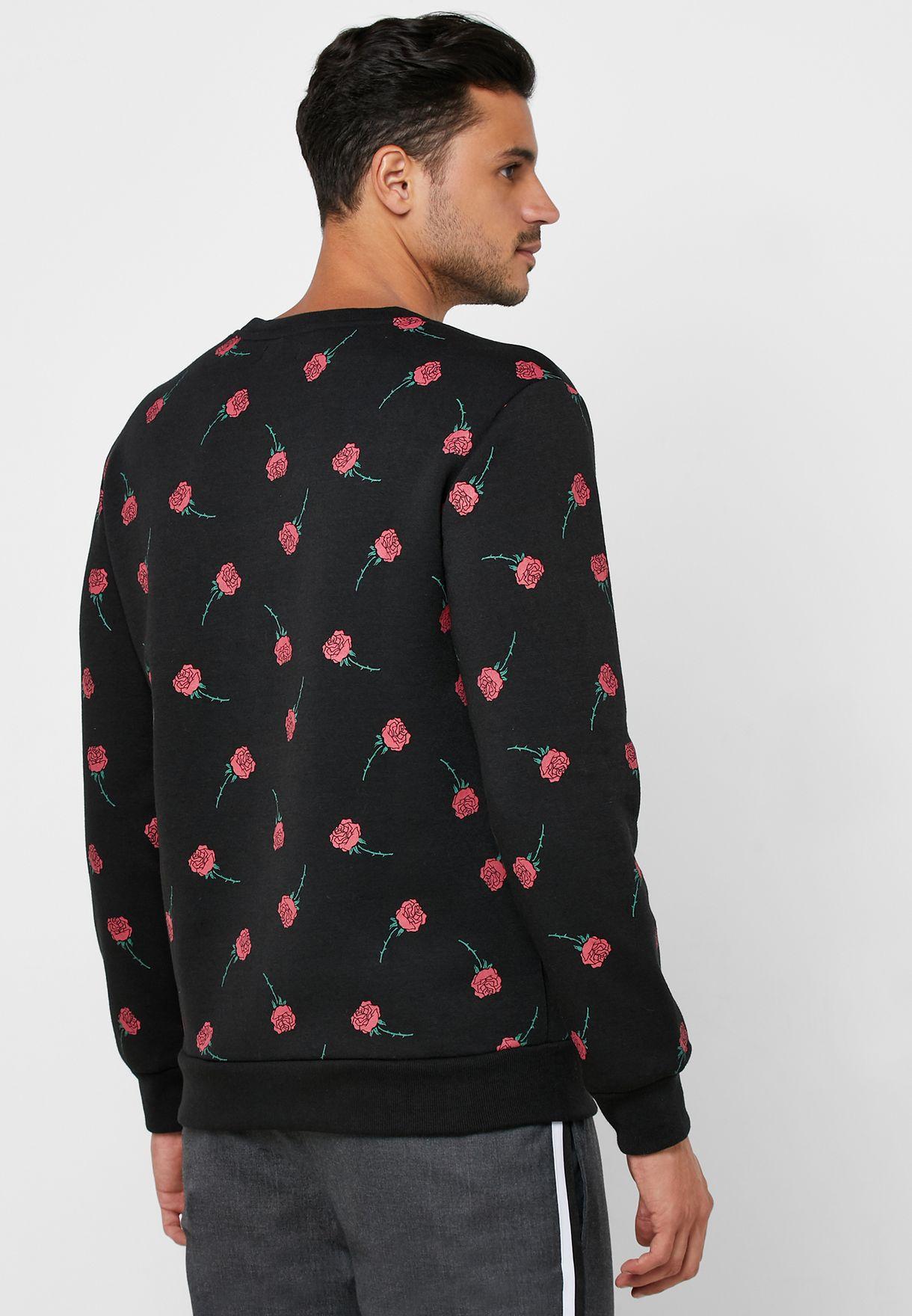 Rose Print Sweatshirt