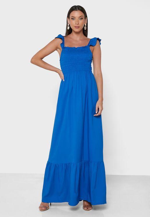 Shirred Ruffle Detail Dress