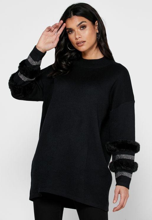Lace Trim Oversize Sweater