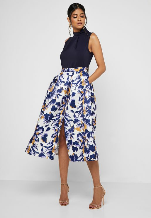 High Neck Printed Skirt Dress