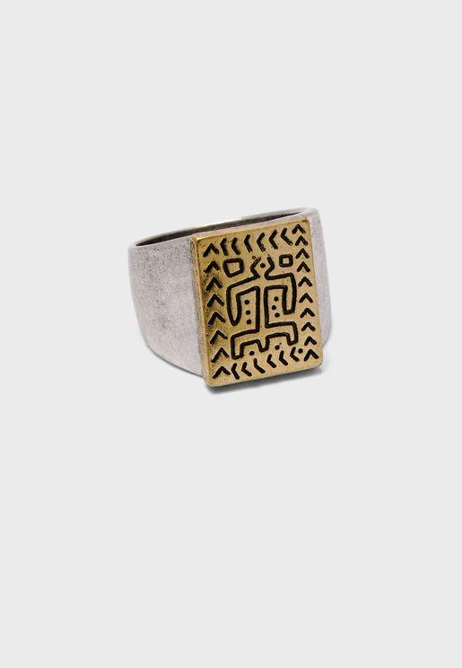 Engraved Man Design Signet Ring