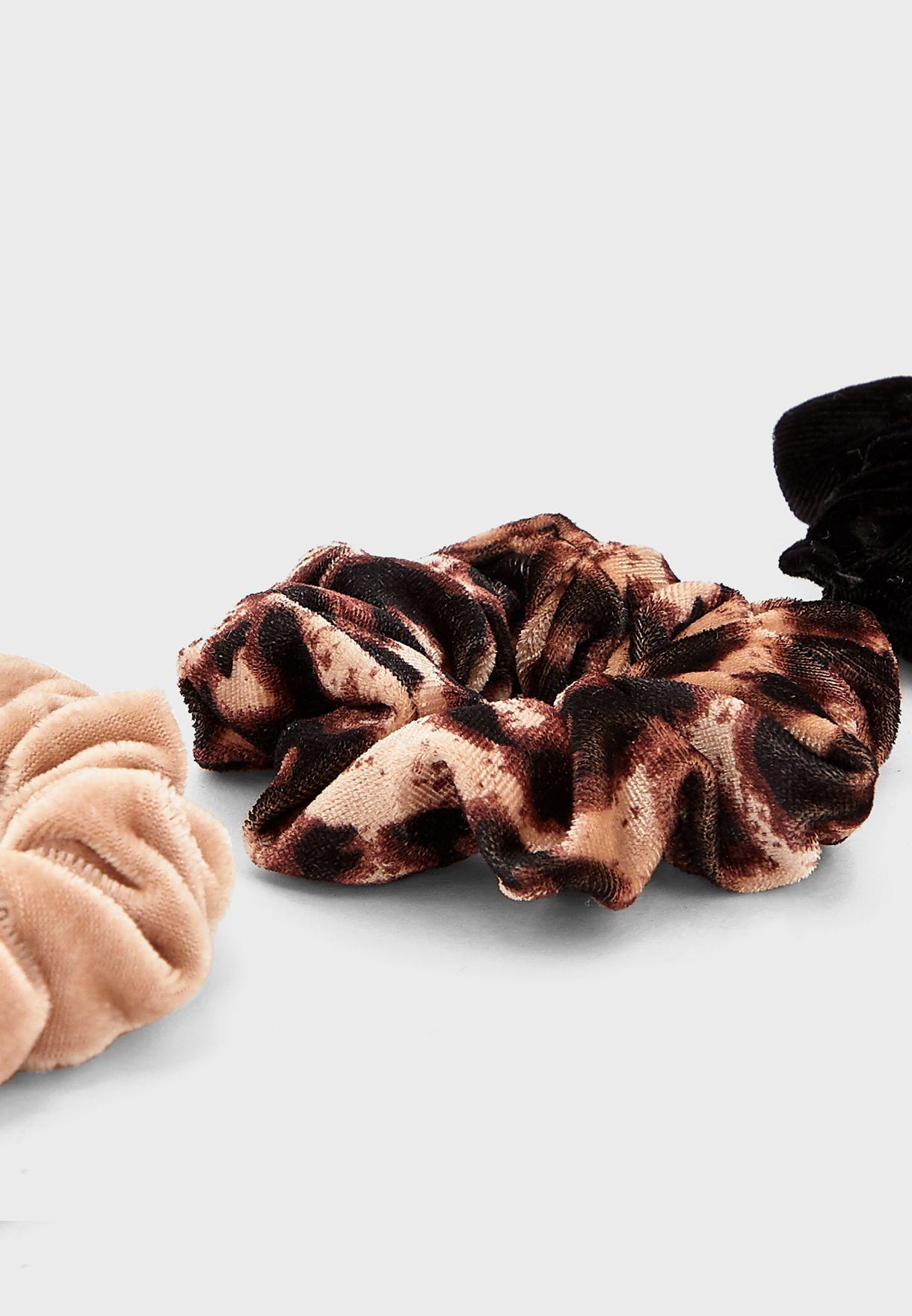 Multipack Neutral Leopard Scrunchies Headbands
