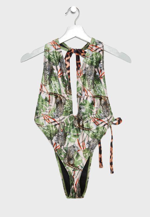 Plunge Leopard Print Swimsuit