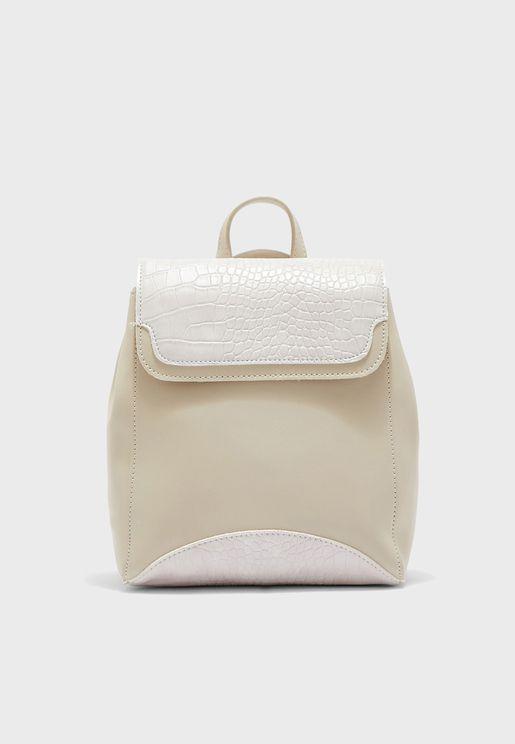Mock Croc Detail Backpack