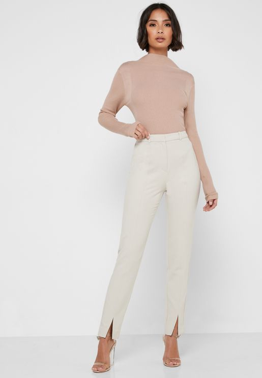 Front Slit High Waist Pants