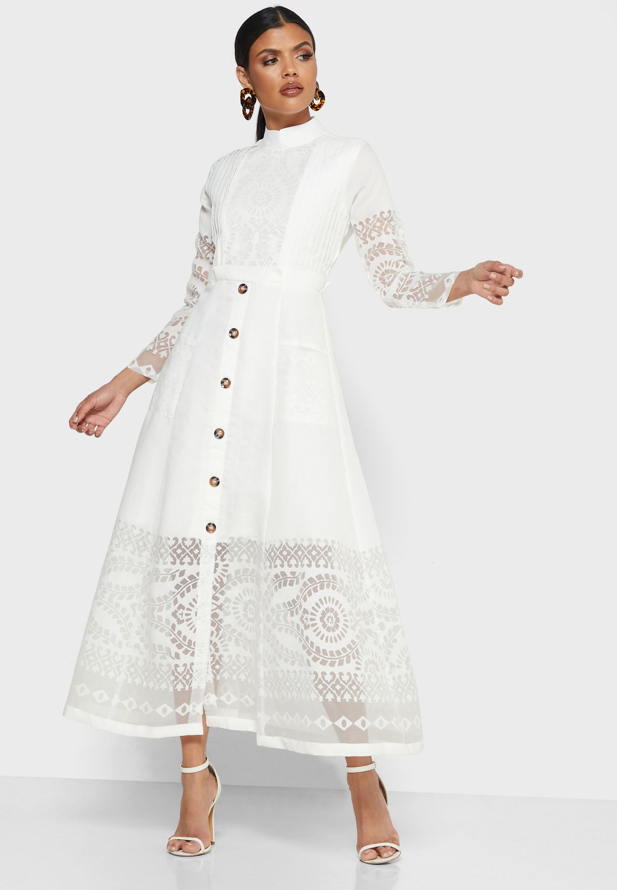 Button Through Burnout Dress