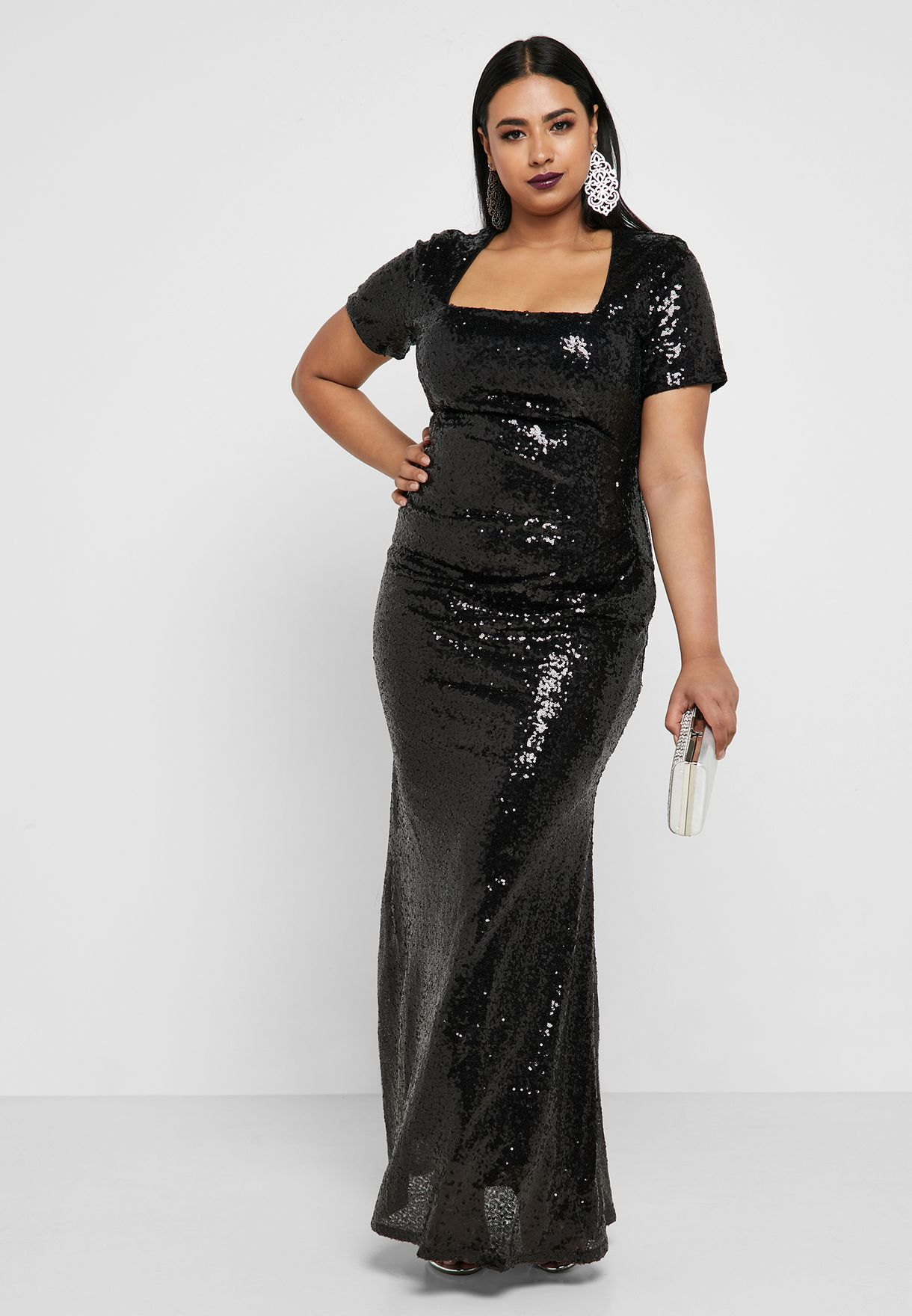 Square Neck Sequin Bodycon Dress