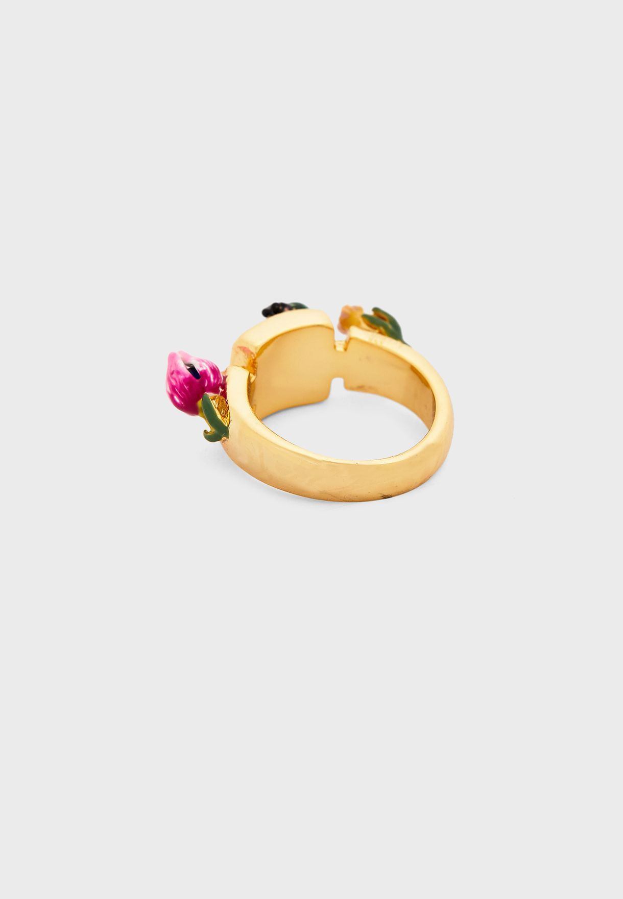 Small Flowers And Faceted Crystal Ring