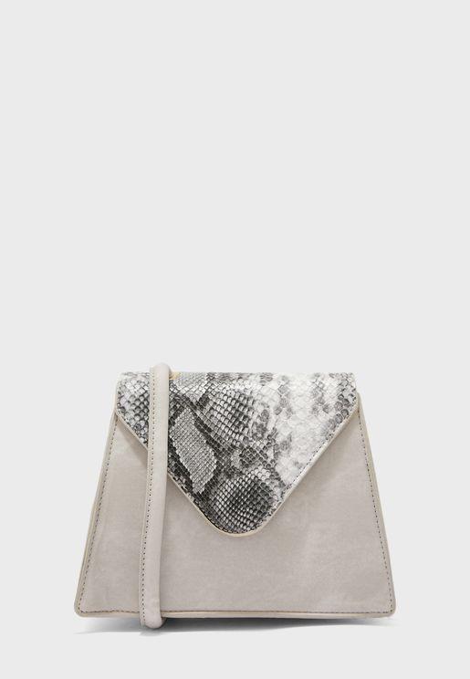 Top Handle Handbag With Snake Print Detail