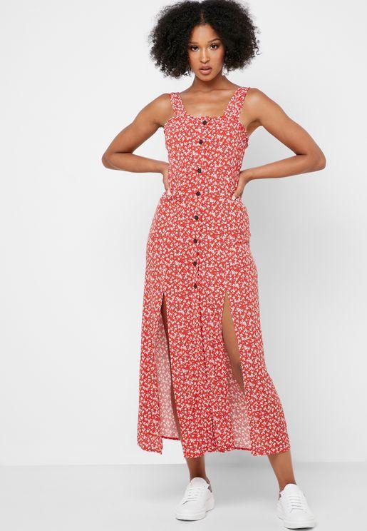 Floral Print Front Split Button Down Dress