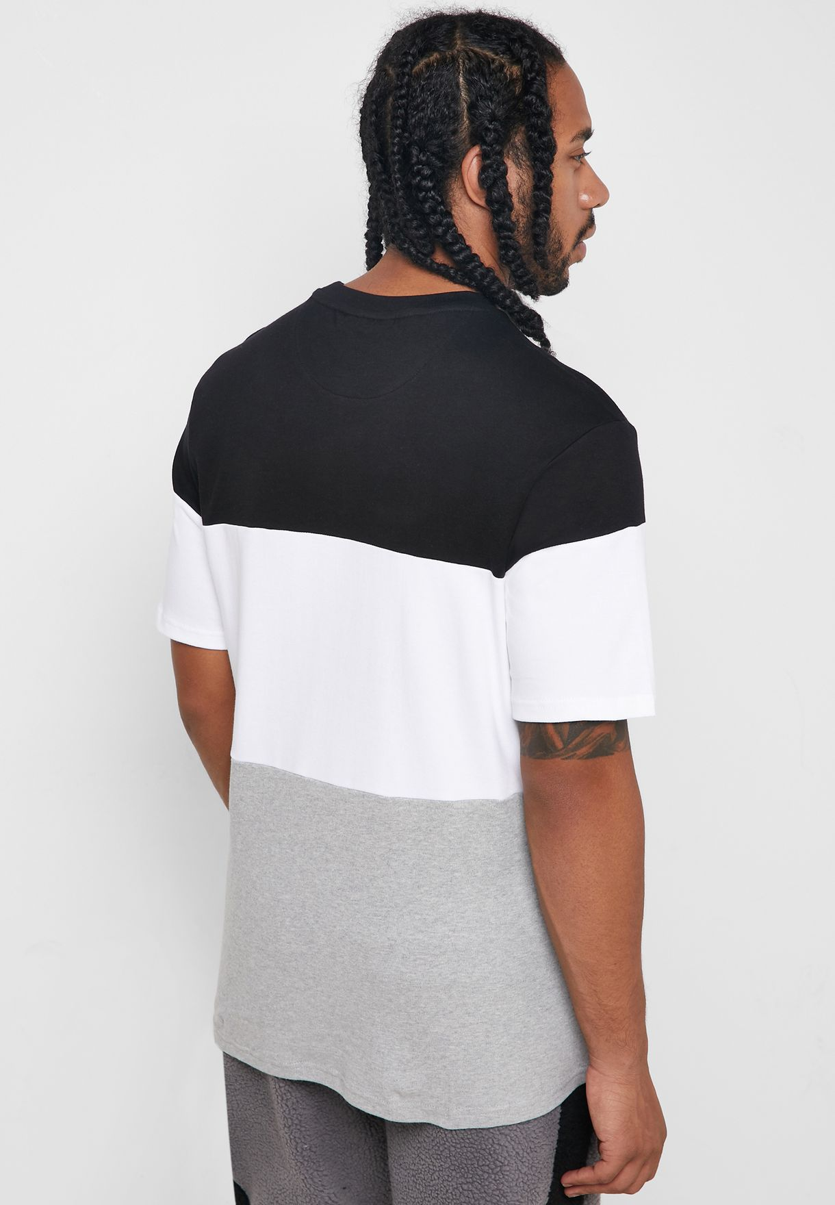 Vialli Cut & Sew Colour Block Logo T-Shirt