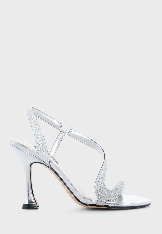 Wnimmal5 Embellished Ankle Strap Mid-Heel Sandals