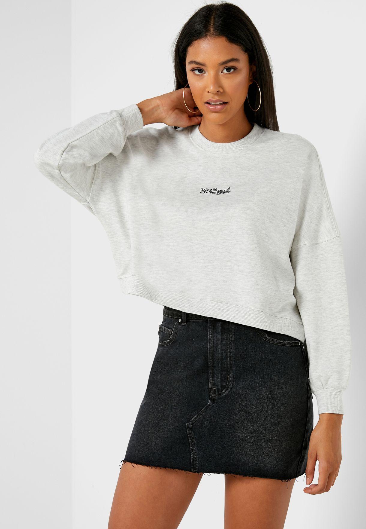 Slogan Boxy Sweatshirt