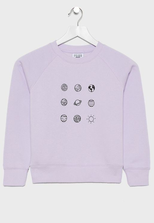 Teen Planets Crew Neck Sweater