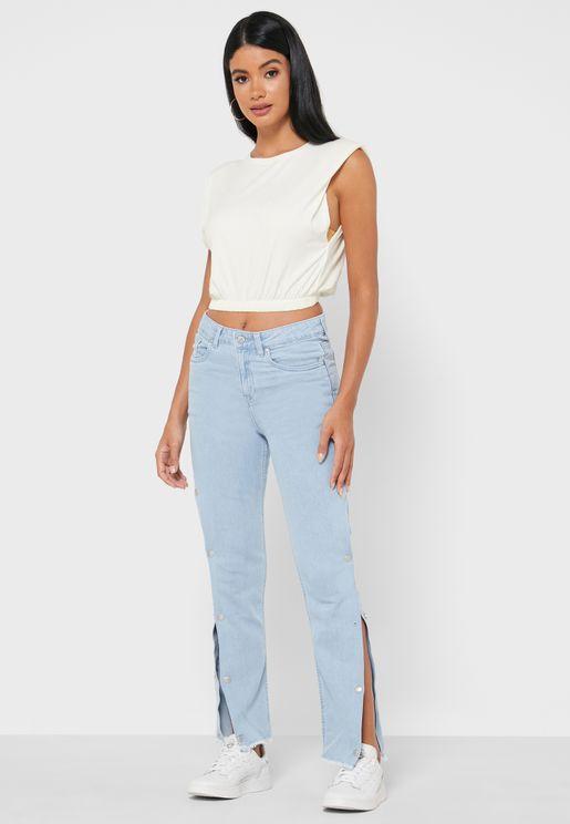 جينز بشقوق جانبية