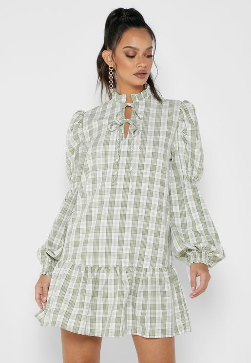 Tie Front Drop Hem Mini Check Dress