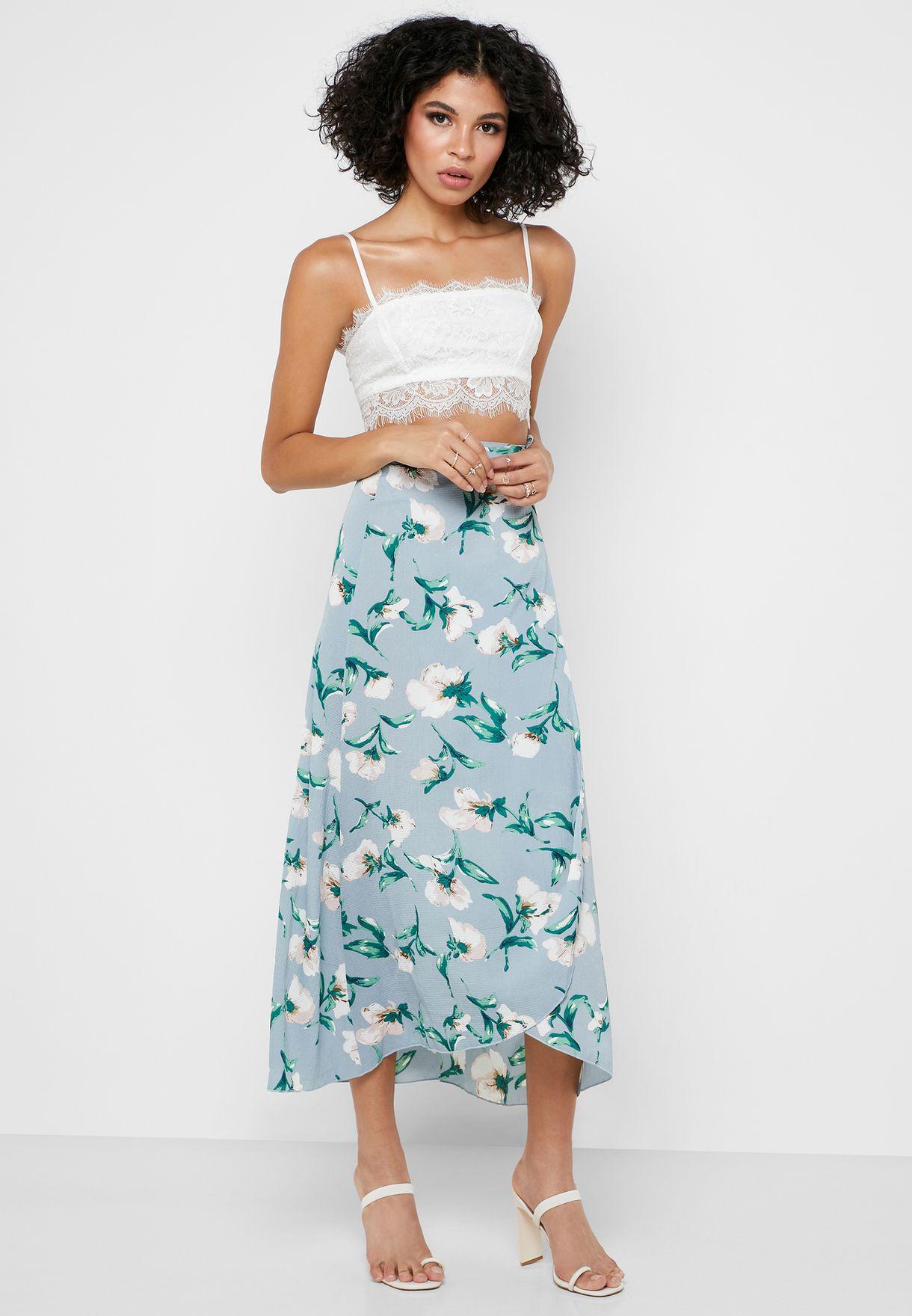660355b1bf Shop Ella prints Floral Print Wrap Front Midi Skirt NL4213 for Women ...