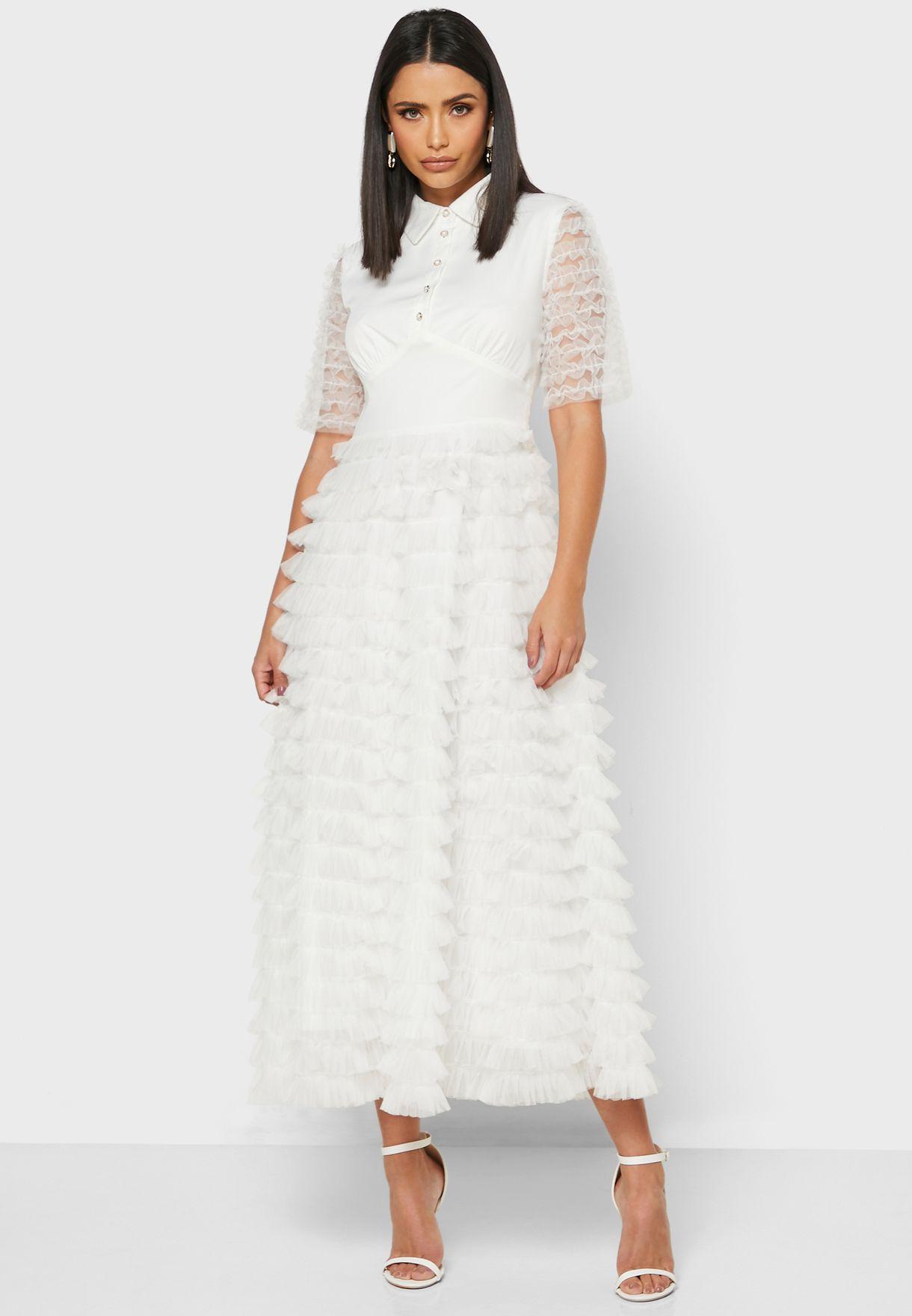 Textured Shirt Midi Dress