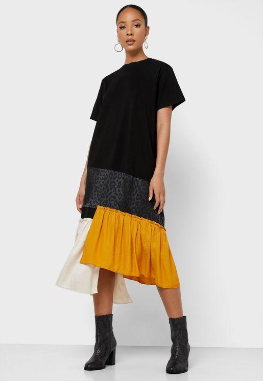 Ruffle Detail Colorblock Dress