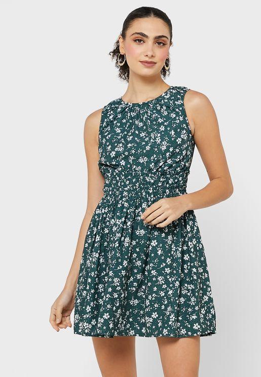 Floral Elasticated Waist Skater Dress