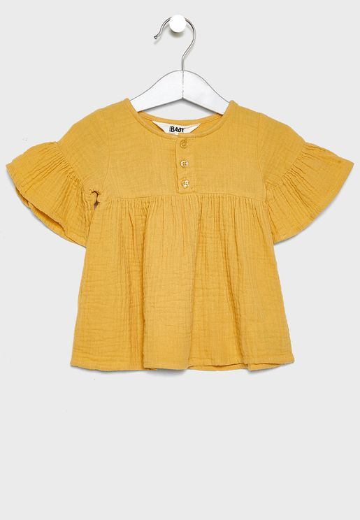 Infant Wide Sleeve Shirred Top
