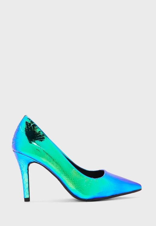 Multi-Coloured Faux Snake Pointed Pump