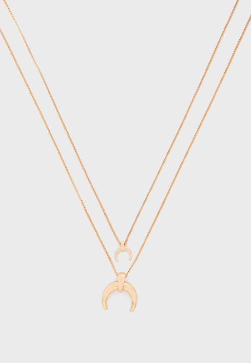 Double Crescent Pendant Necklace