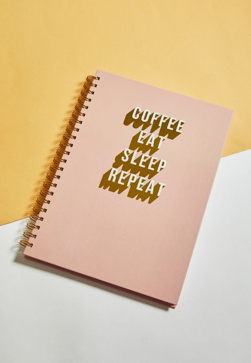 A4 Coffee Eat Sleep Repeat Notebook