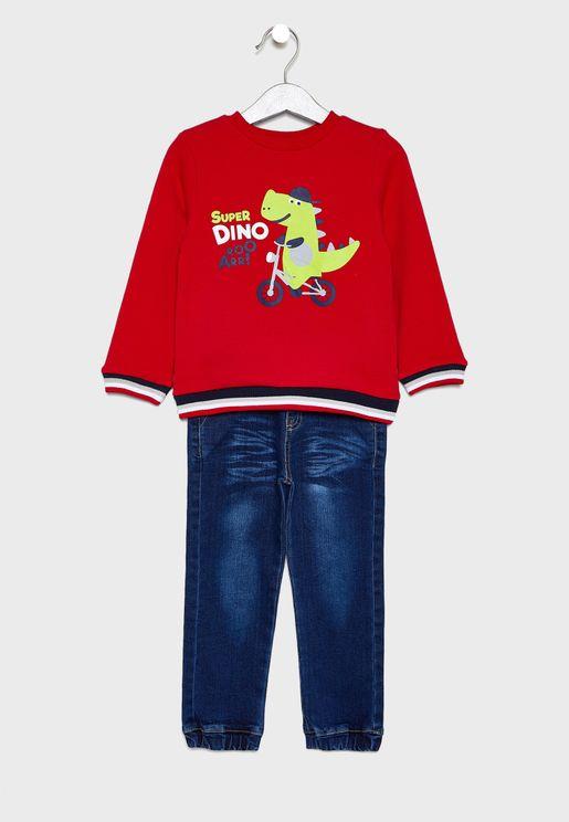 Little Dino Sweatshirt + Jogg Jeans Set