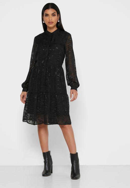 Button Through Tiered Dress
