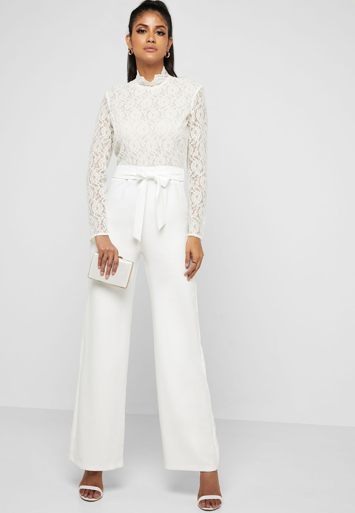 7d48a795f27 Shop Missguided white Lace Insert Belted Jumpsuit WXM9905473 for ...