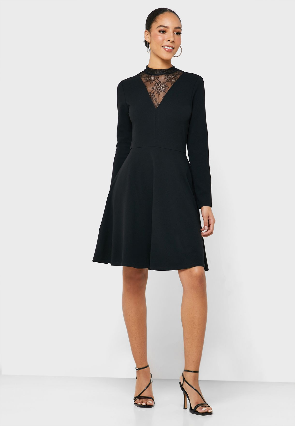 Lace Insert High Neck Dress