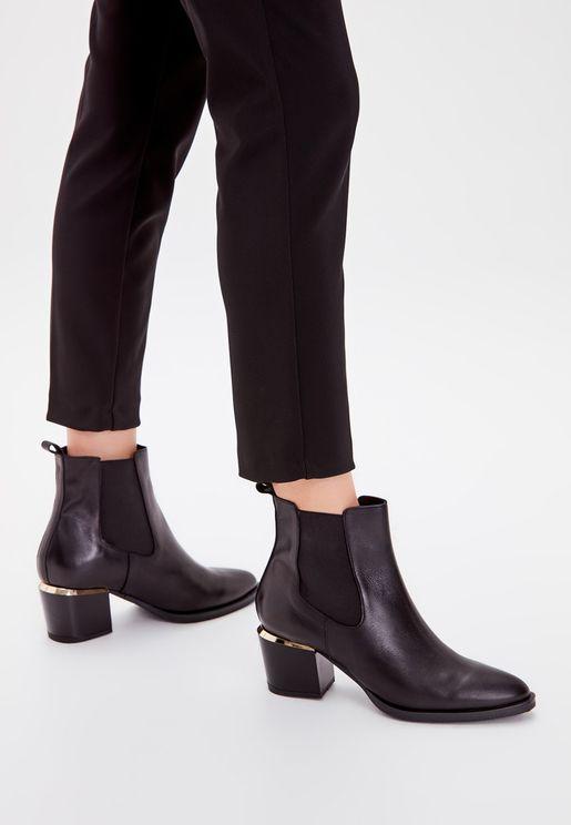 Rubber Detail Block Heel Boot