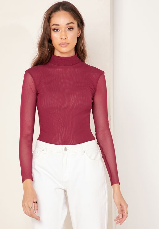 High Neck Sheer Sleeve Top
