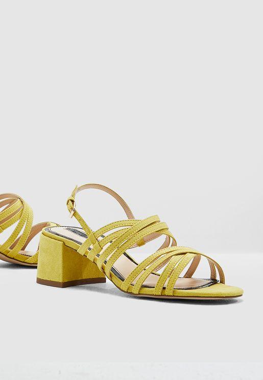 7c48309de7a Sara Multi Strap Low Heel Sandal - Light Green