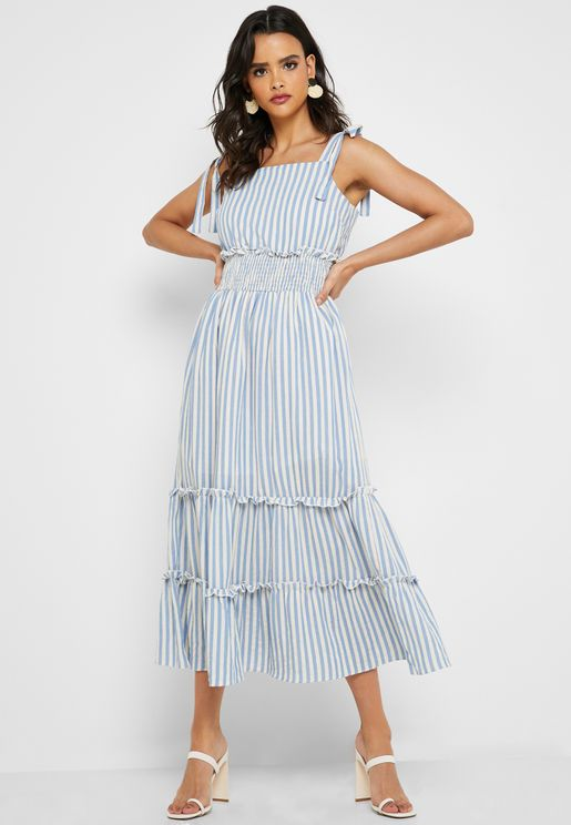 Striped Tie Shoulder Maxi Dress