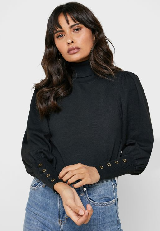 Cuffed Roll Neck Sweater