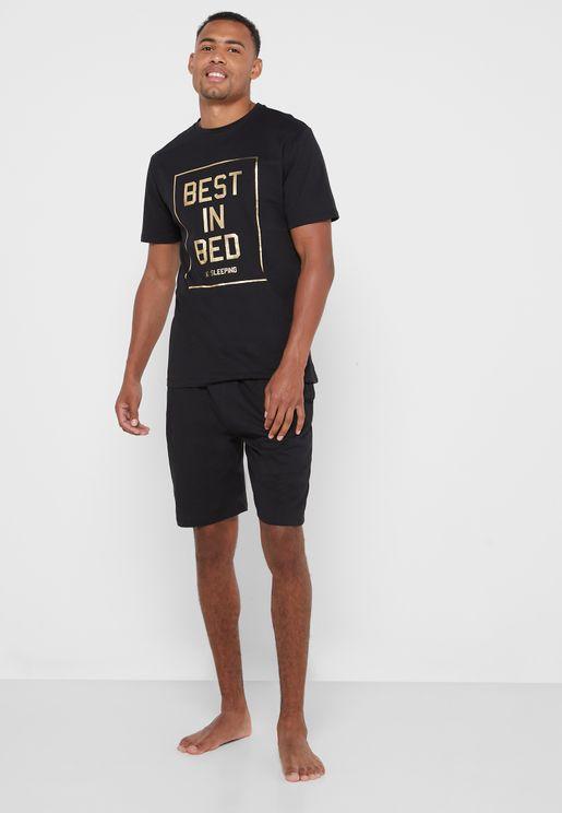 Slogan Pyjama Shorts Set