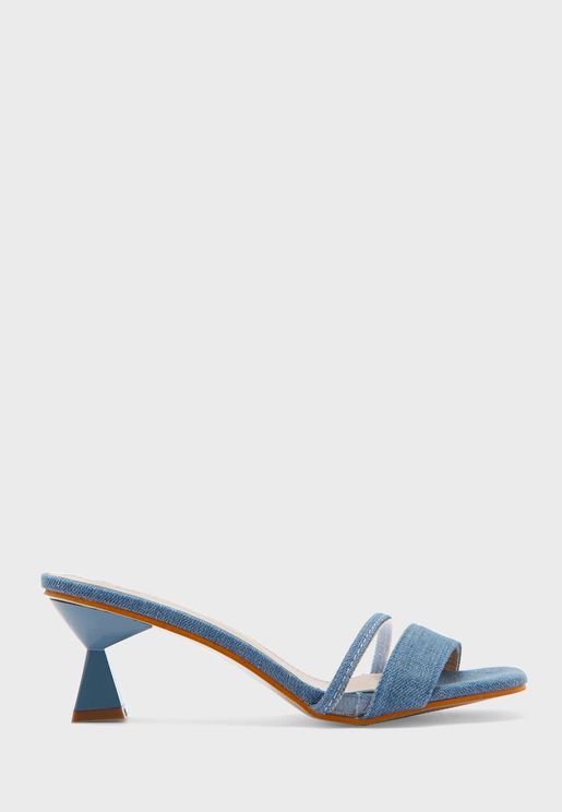 Square Toe Denim Mule With Clear Panel
