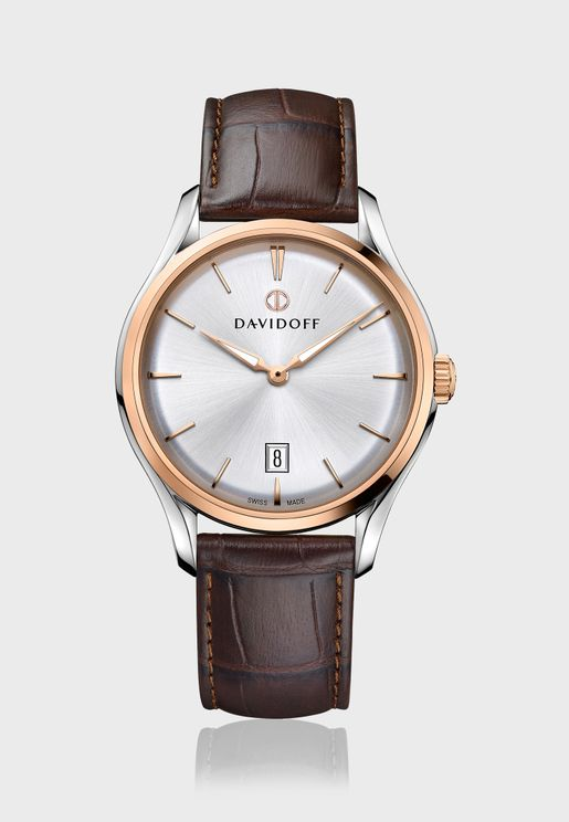 Analog Leather Strap Watch