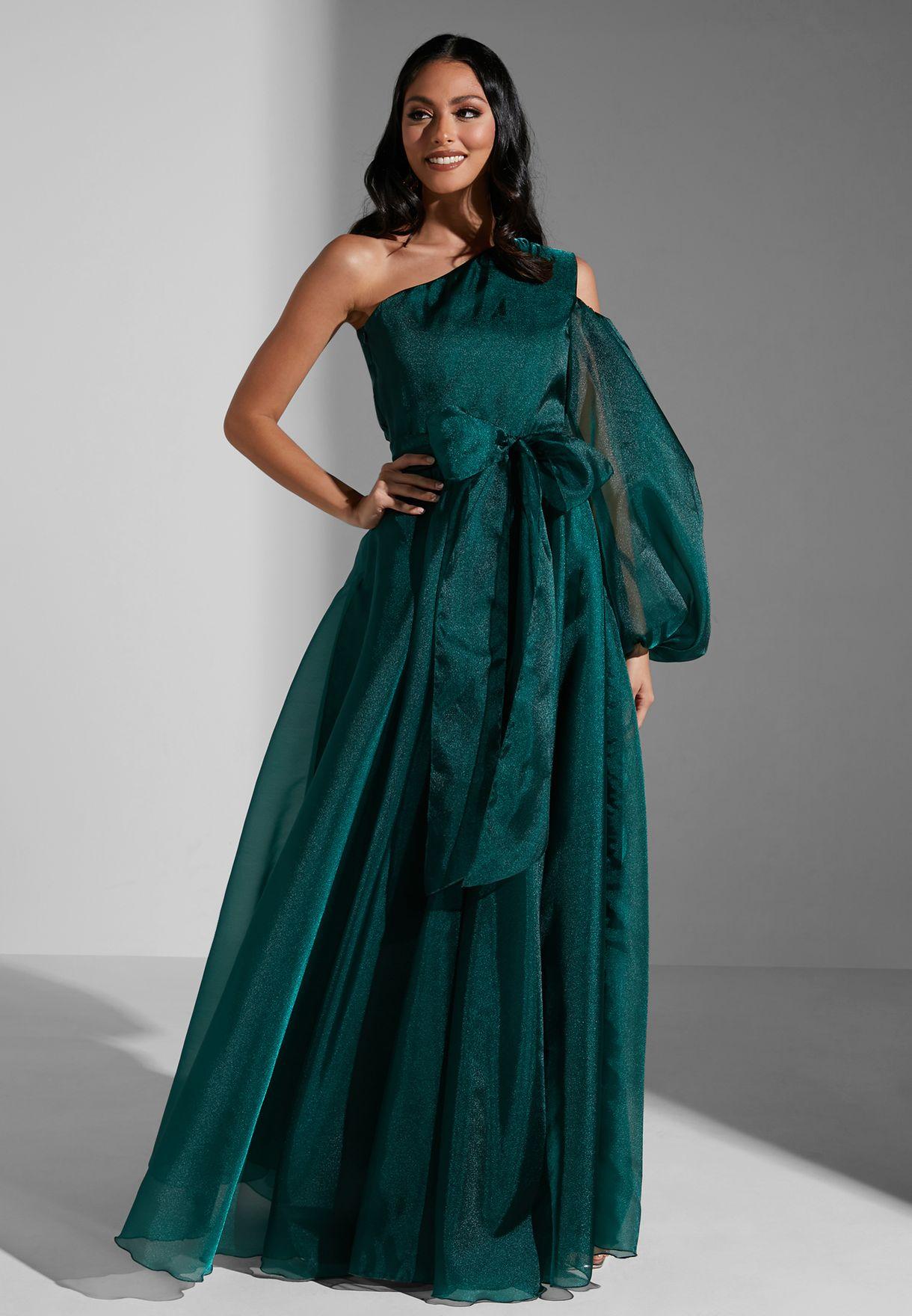 One Shoulder Shimmer Dress