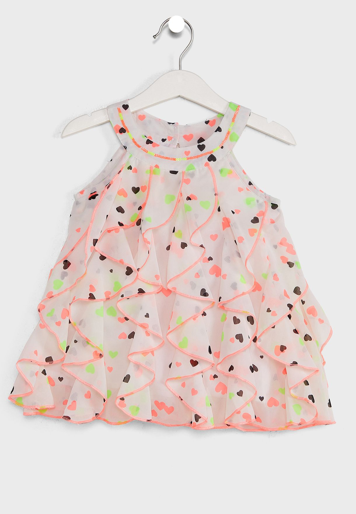 Off- Neon Printed A-Line Dress