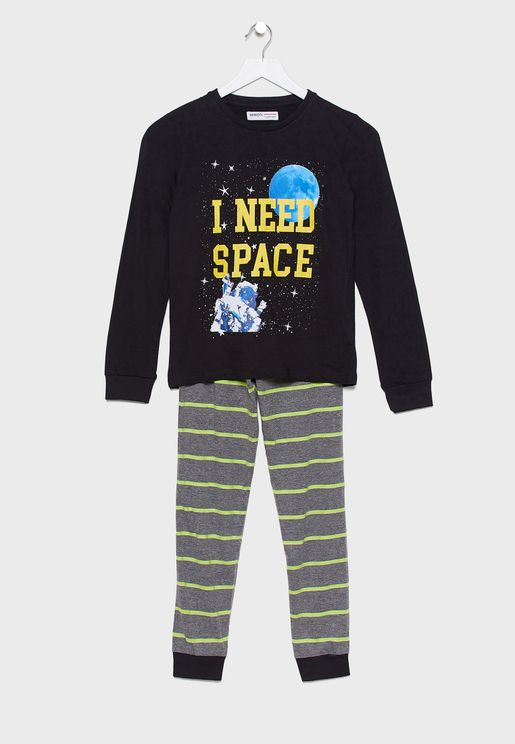 Teen Graphic T-Shirt + Striped Pyjama Set