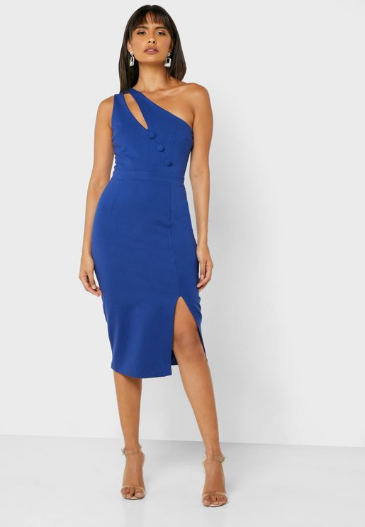 Cut Out One Shoulder Front Slit Dress
