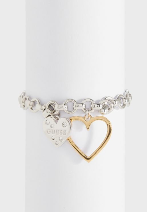 B-Big Chain Dble Hearts Bracelet
