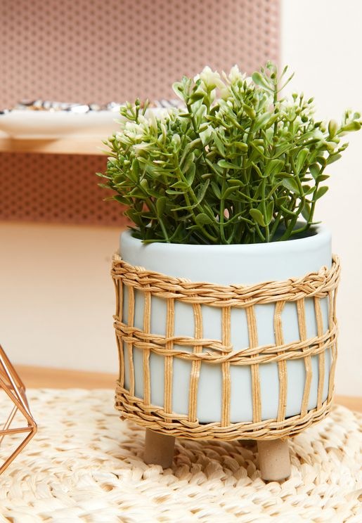 Rattan Terquoise Leggy Planter